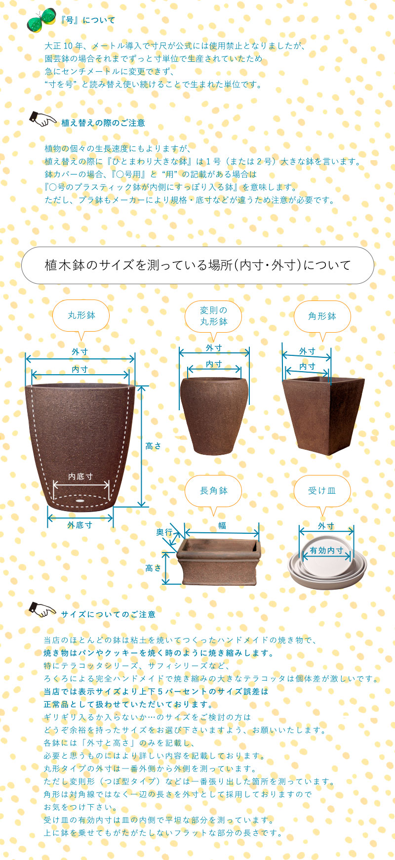 植木鉢のサイズを測っている場所(内寸・外寸)