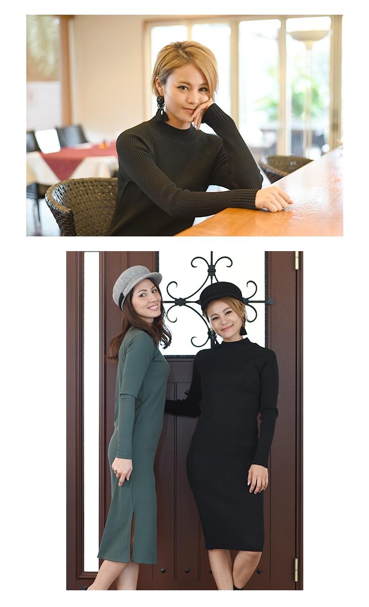 ミドルネックリブワンピース[マタニティ服]17c01