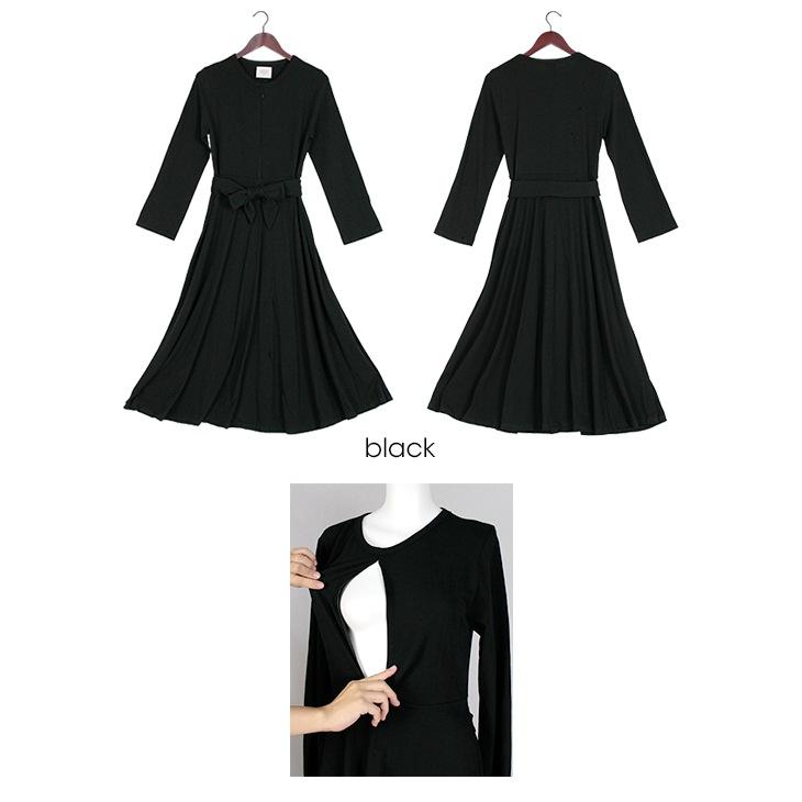 授乳フレアワンピース[マタニティ服/授乳服]17c21