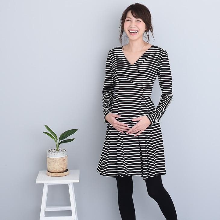 授乳ボーダーワンピース[マタニティ服/授乳服]18c08