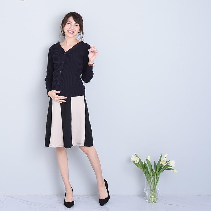 ツートンカラースカート[マタニティ服]18c13