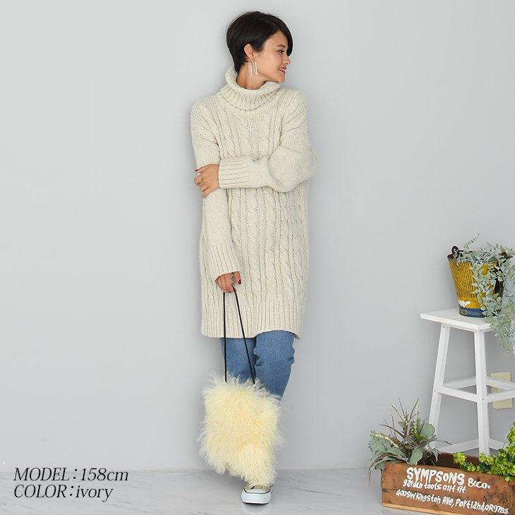タートルカラーケーブルニットワンピース【マタニティ服】18d11