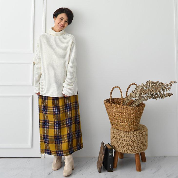 イエローチェックスカート【マタニティ服】18k01