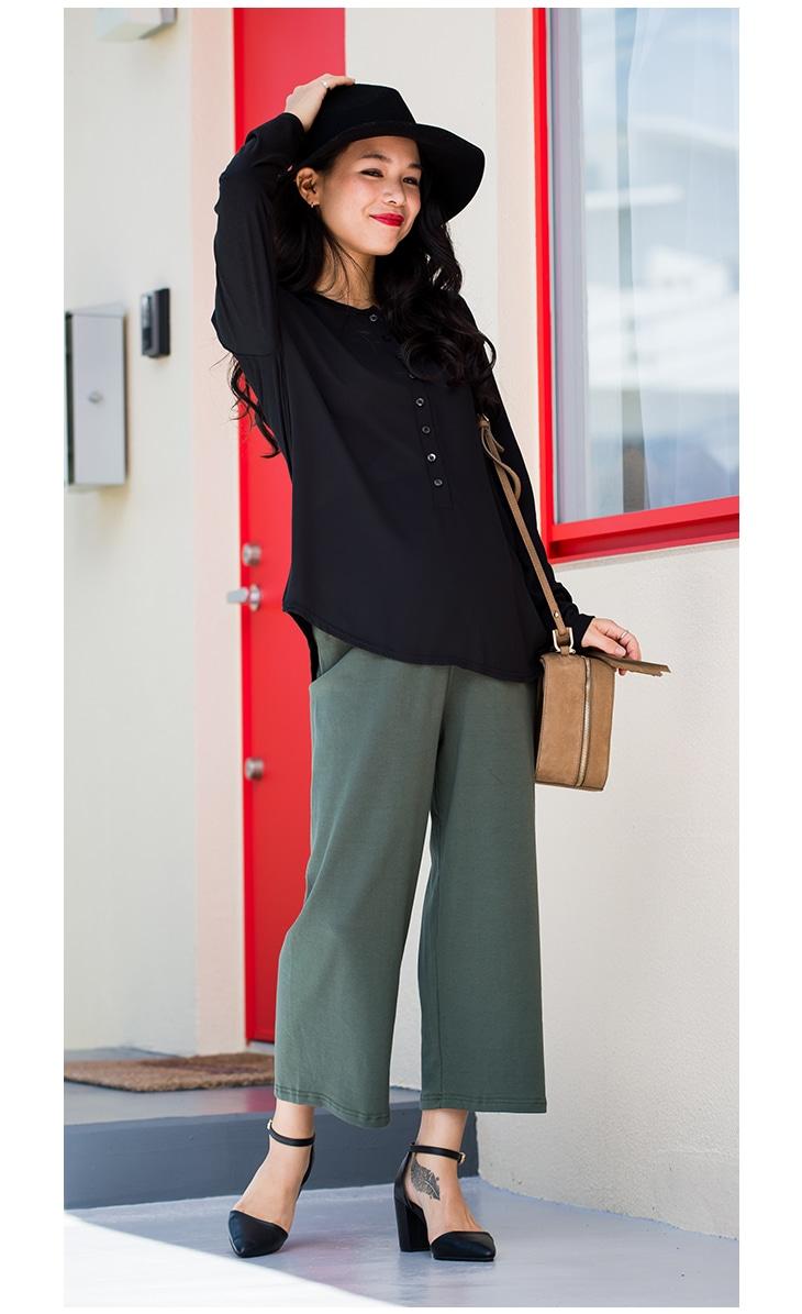 カラーワイドパンツ[マタニティ服]61k-3148