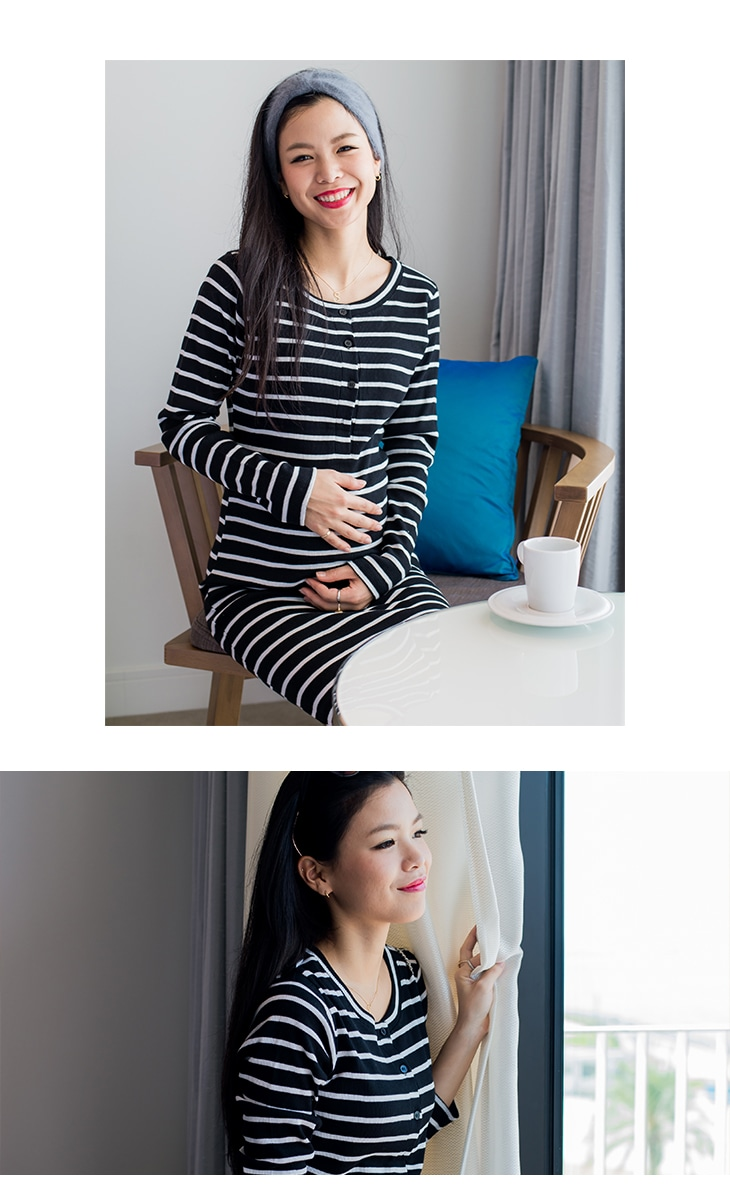 ボーダー授乳ワンピース【授乳服/マタニティ服】61k-3197