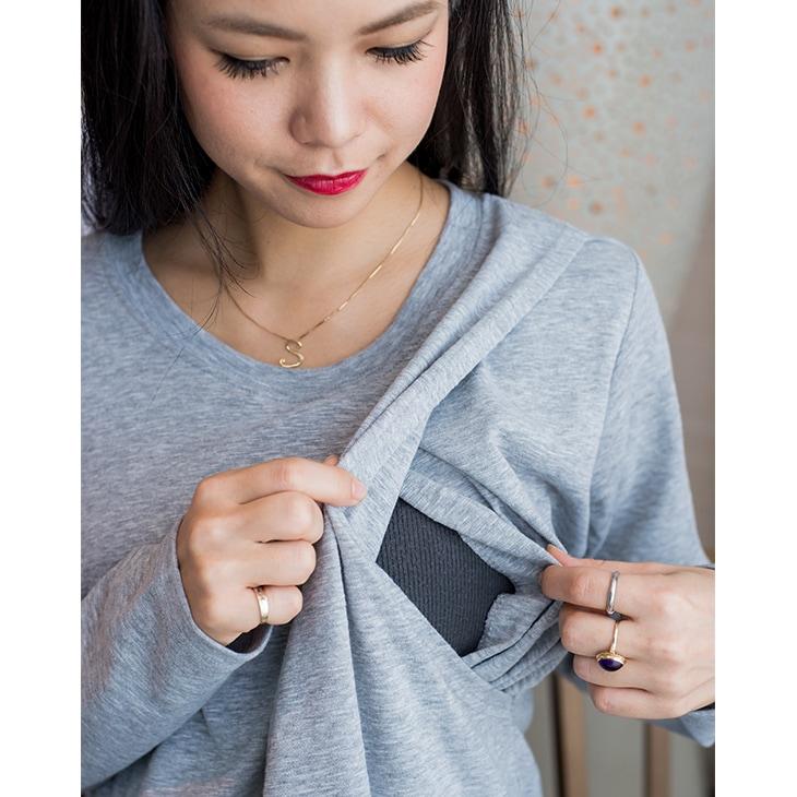 シンプル授乳ワンピース【授乳服/マタニティ服】61k-3199