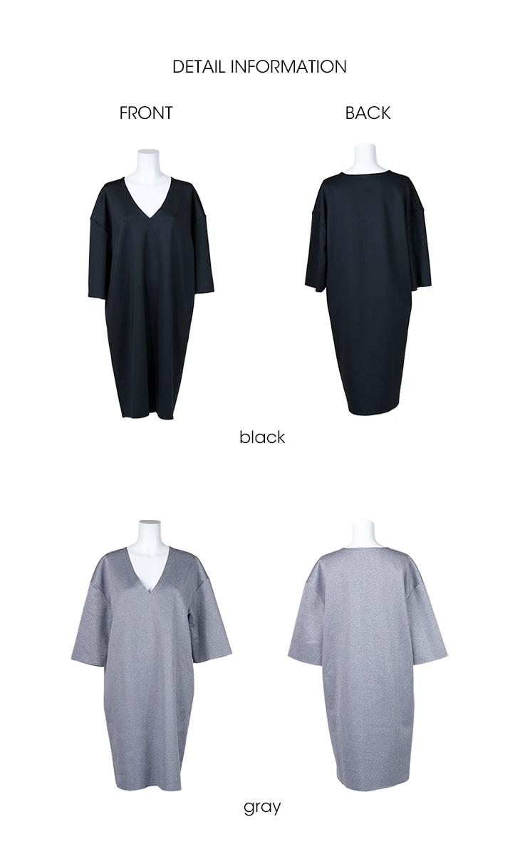 授乳Vネックオーバーワンピース【マタニティ服/授乳服】71c-1114