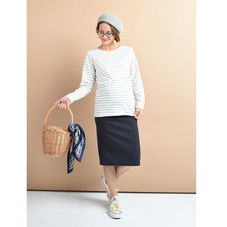 シンプルミディアムスカート【マタニティ服】71k-3230