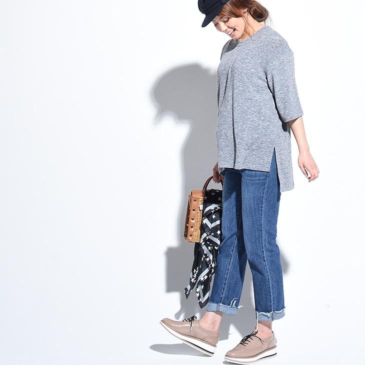 カットオフストレートデニム【マタニティ服】71k-3231