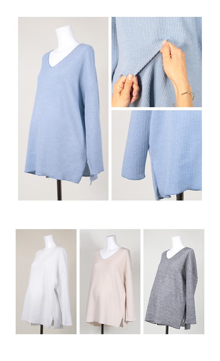 ワッフルVネック【マタニティ服】71k-3246