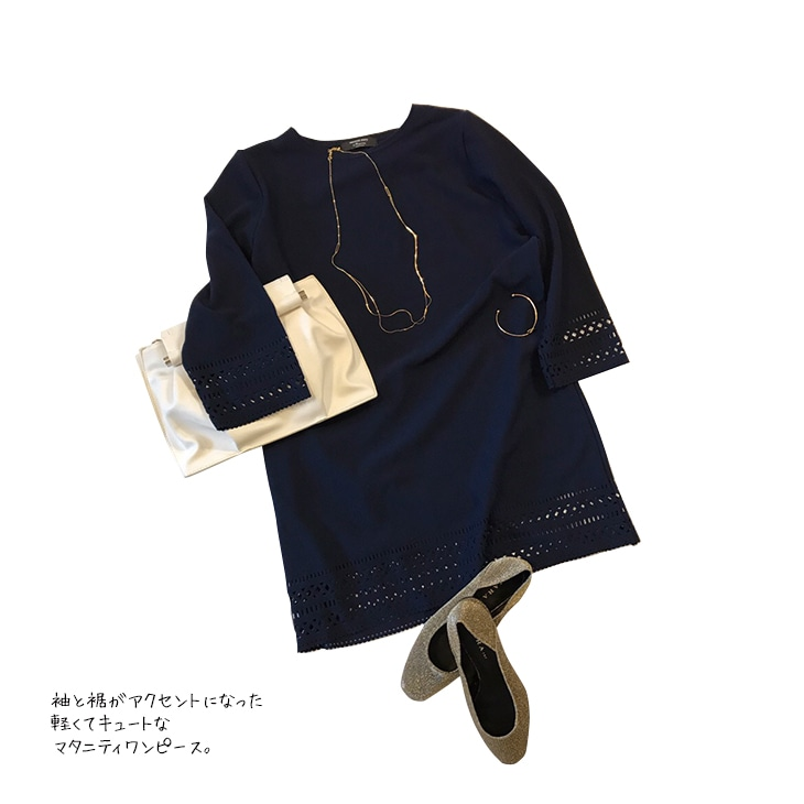 袖ポイントワンピース【マタニティ服】71k-3250