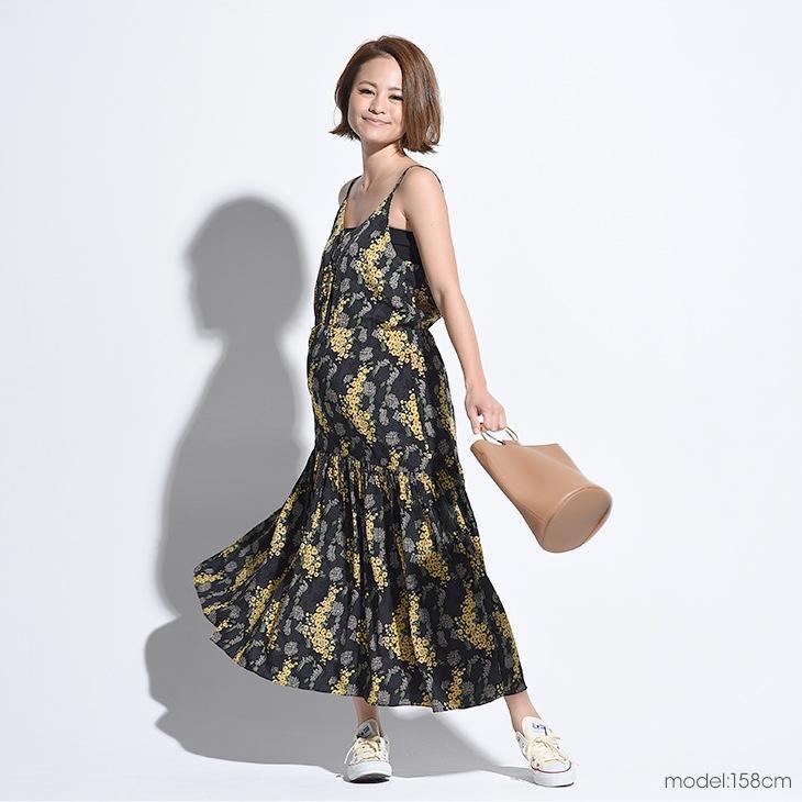 授乳花柄キャミワンピ【マタニティ服/授乳服】71k-3257