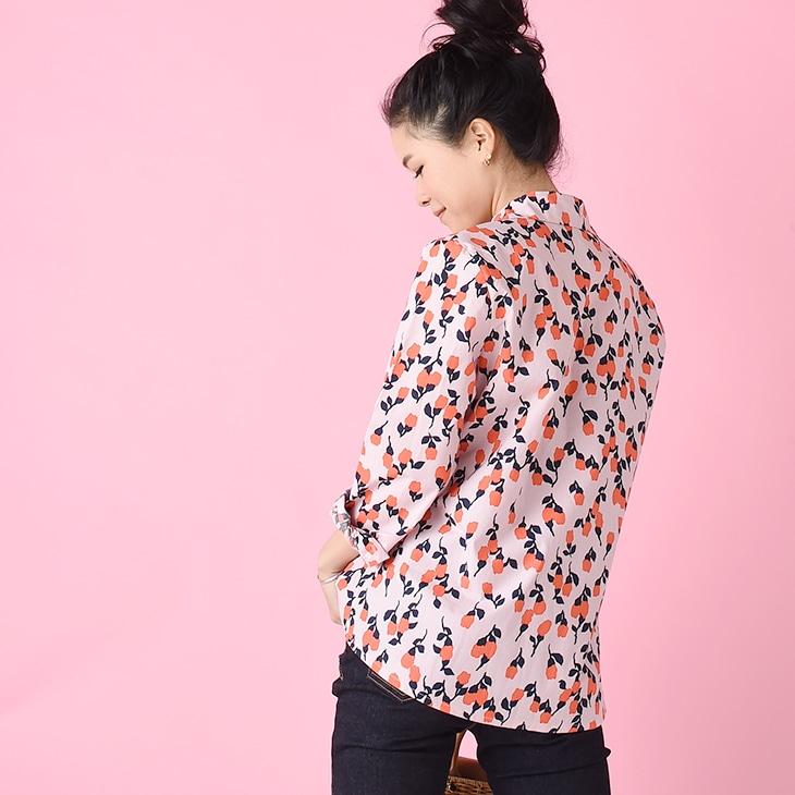 花柄レトロシャツ【マタニティ服/授乳服】71k-3272