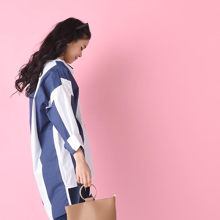 授乳ワイドストライプシャツ【マタニティ服/授乳服】71k-3273
