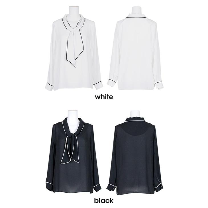 シフォンネックリボンシャツ【マタニティ服】71k-3276