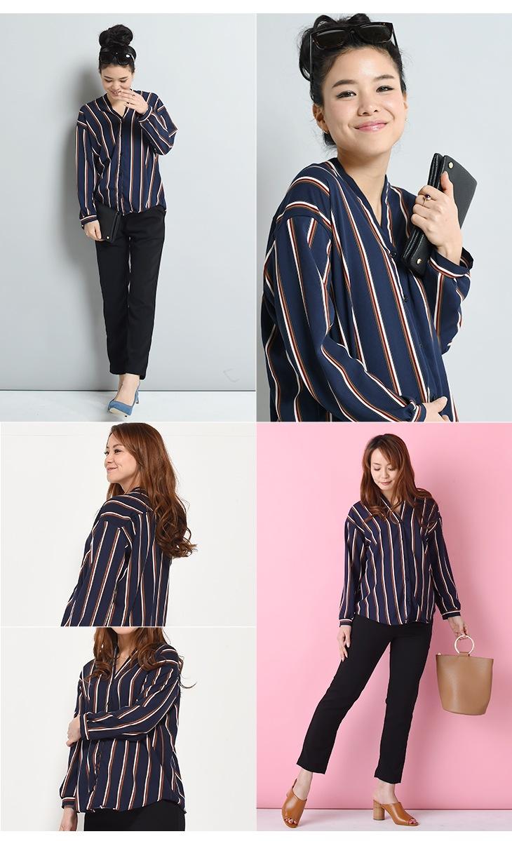 授乳変形ストライプシャツ【マタニティ服/授乳服】71k-3278