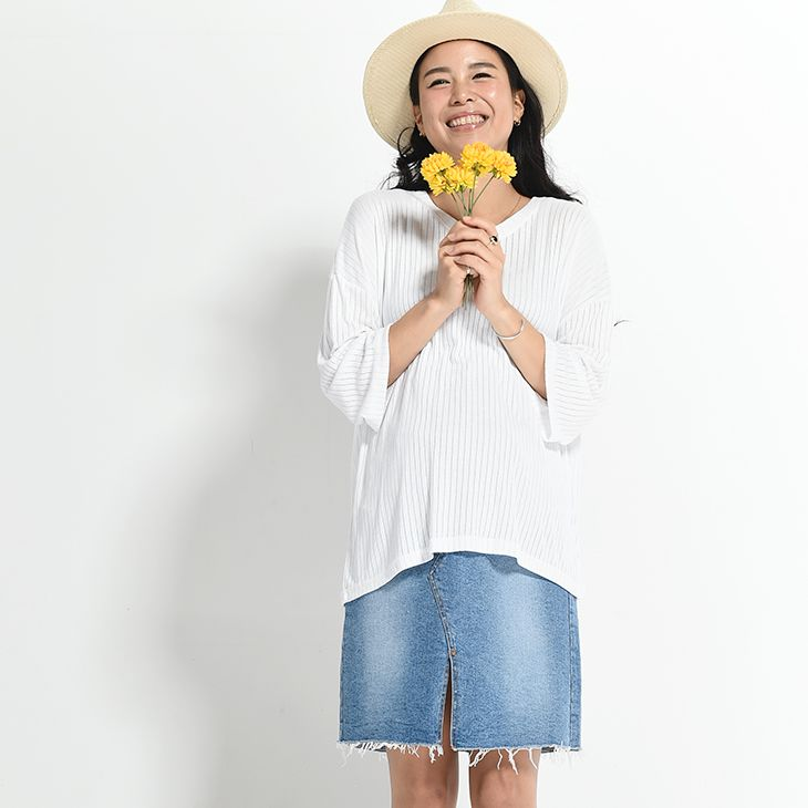 ミドルデニムスカート[マタニティ服]71k-4006
