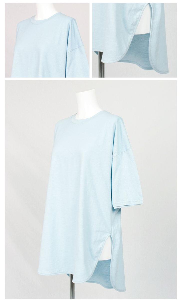 ラウンドスリットTシャツ/71k-4012