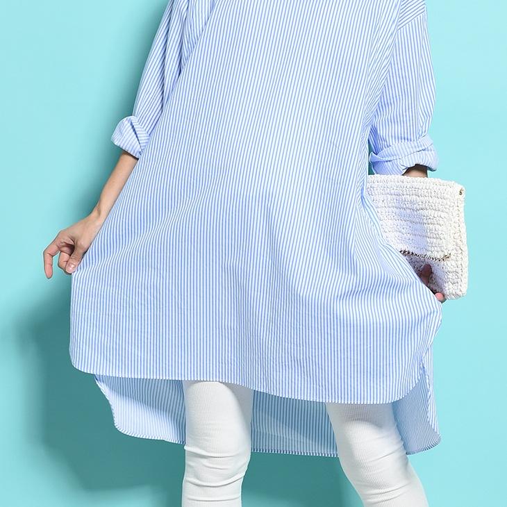 ストライプ授乳シャツワンピース[マタニティ服/授乳服]71k-4102