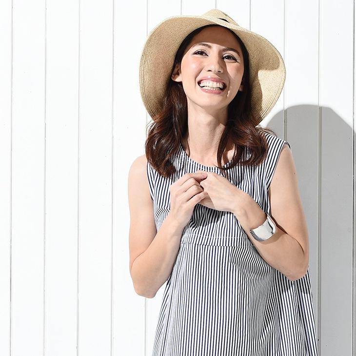 ストライプ授乳ワンピース[マタニティ服/授乳服]71k-4106