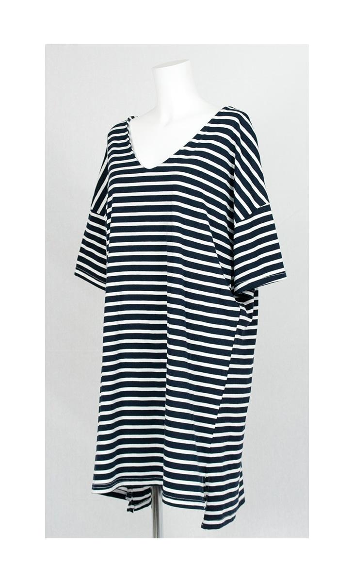 Vネックボーダーワンピース[マタニティ服]71k-4126
