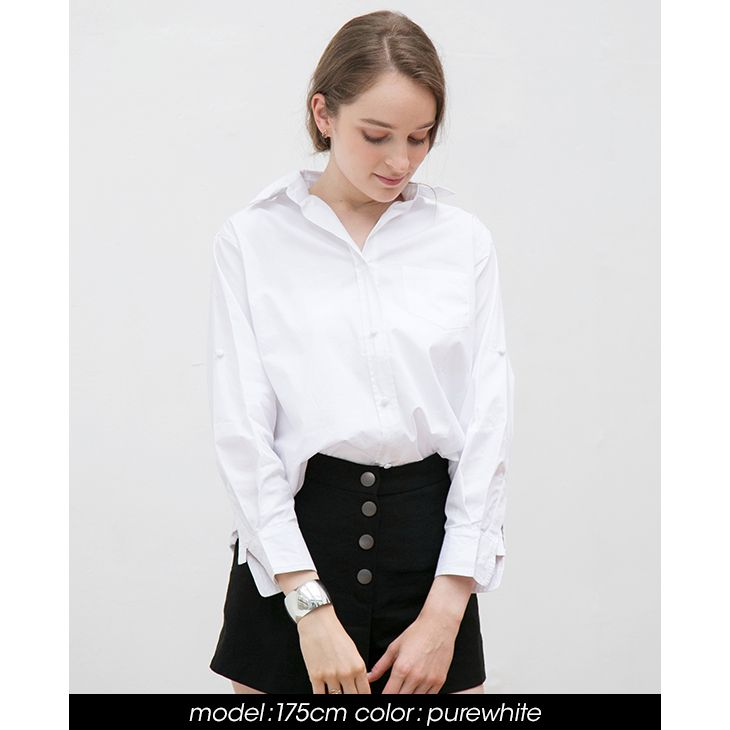 授乳シンプルシャツ【マタニティ服/授乳服】81m02
