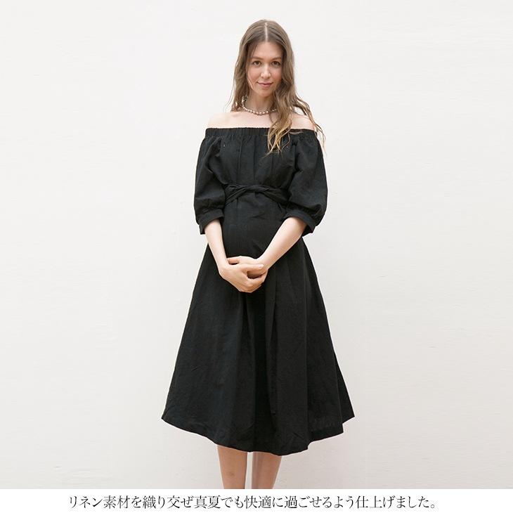 授乳リネンオフショルワンピース【マタニティ服】
