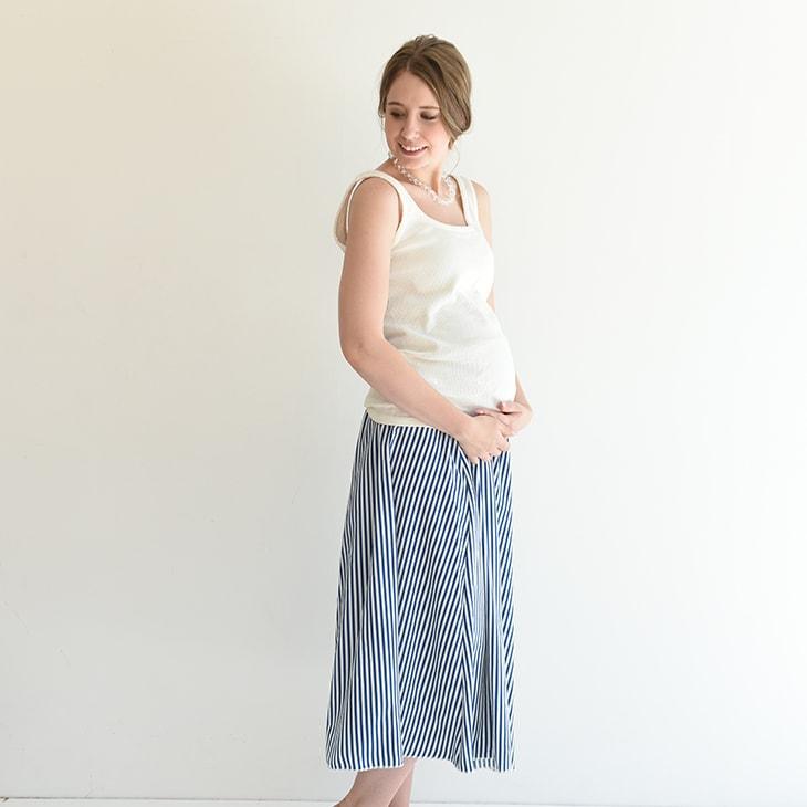 産前産後ストライプスカート【マタニティ服】81m19