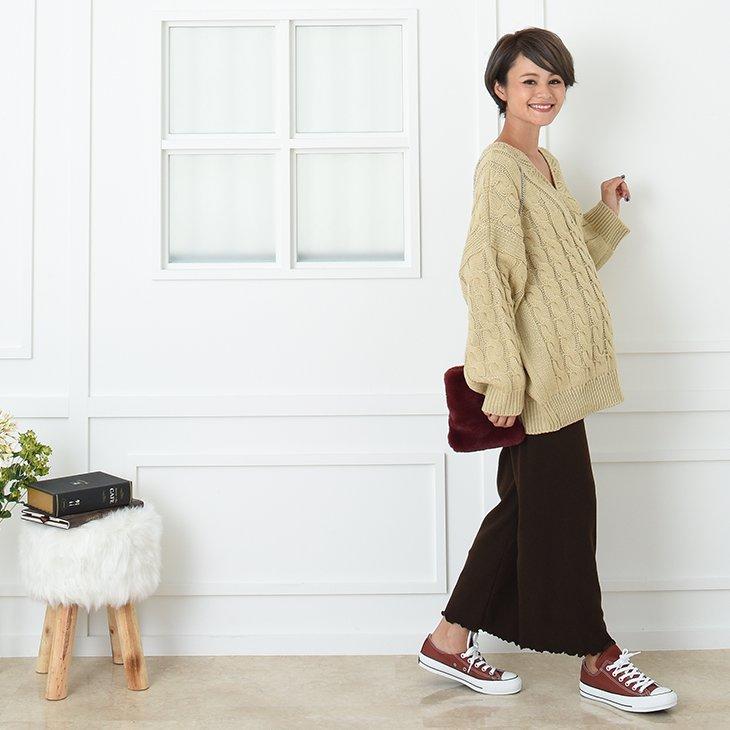 裾メロウあたたか起毛リブパンツ【マタニティ服】81m70
