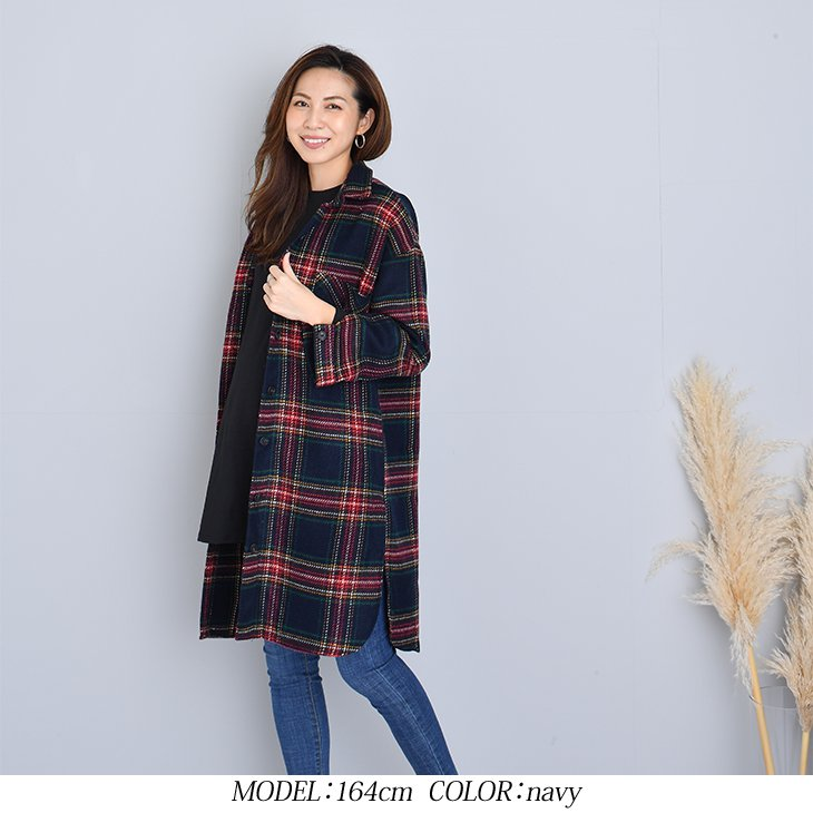 厚手チェックロングトップス【マタニティ服】81w90