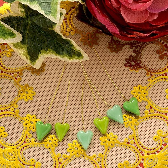 ワイヤー付ハート「honet」 6本セット(緑)