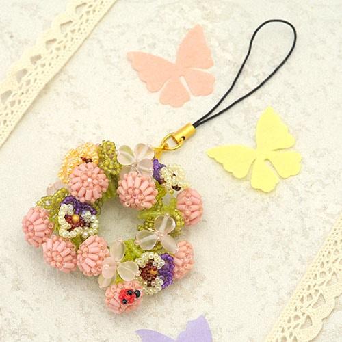 モモイロシロツメクサの花冠ストラップorブローチ