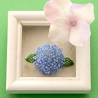 Hydrangea 紫陽花ブローチ ブルー