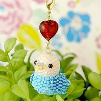 Happy☆Birdストラップ (ホワイト&ブルー)