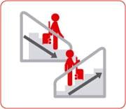 エスカレーターに乗るとき、上りは前のステップに、下りは後ろのステップに