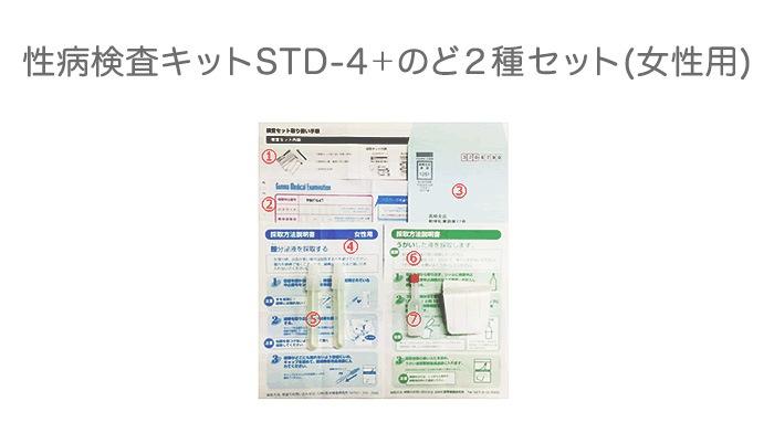 性病検査キットSTD-4+のど2種セット(女性用)