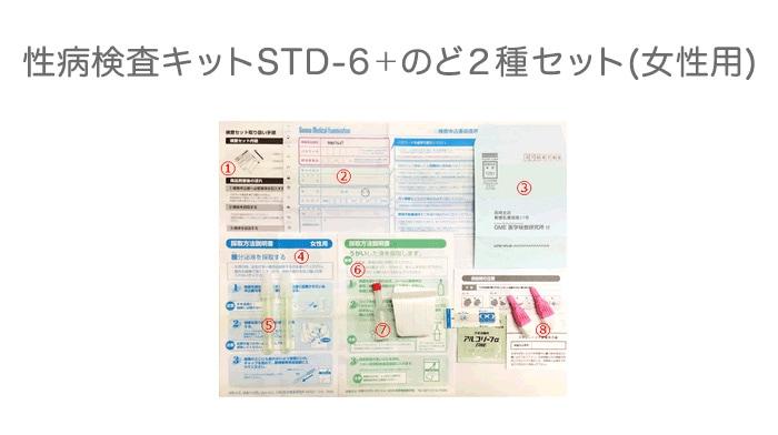 性病検査キットSTD-6+のど2種セット(女性用)