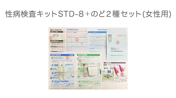 性病検査キットSTD-8+のど2種セット(女性用)