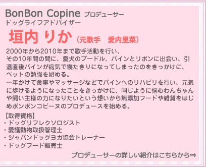 BonBon Copineプロデューサー 愛内里菜 Rina Aiuchi 2000年から2010年まで歌手活動を行い、その10年間の間に、愛犬のプードル、パインとリボンに出会い、引退後は、愛犬が一が一日でも長く健康いっぱいでいられるようにという想いから、無添加フードとおやつの企画を始める。 【会得資格】  ・ドッグセラピスト(日本リフレクソロジー協会RAJA認定)  ・愛護動物取扱管理士