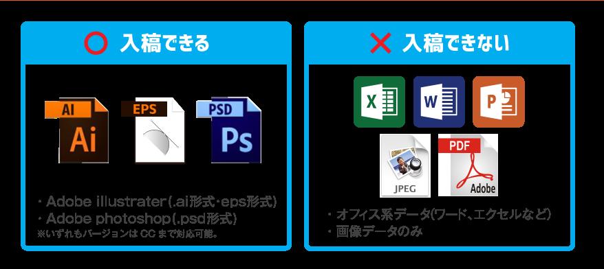 入稿可能データーはAdobe Illustrator(AI形式・EPS形式)もしくはAdobe Photoshop(PSD形式)になります。