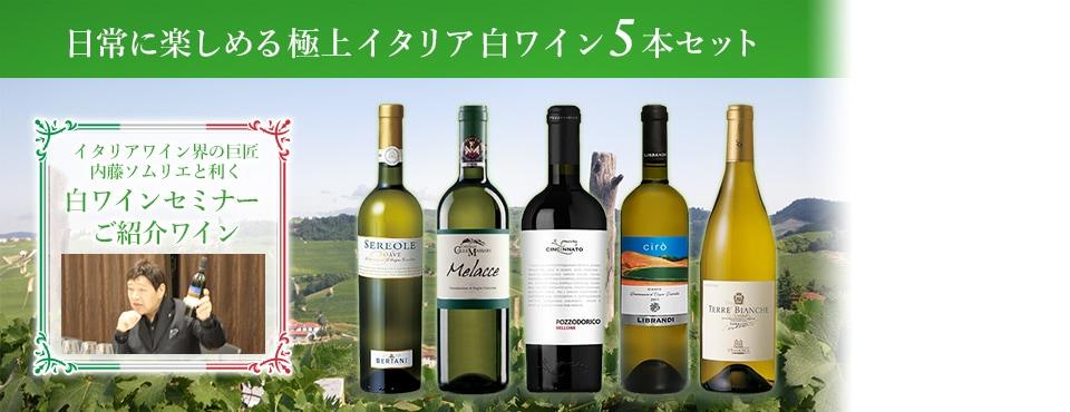 内藤ソムリエと利く 日常に楽しめる極上イタリア白ワイン5本セット