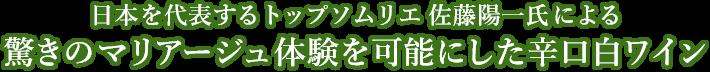 日本を代表するトップソムリエ 佐藤陽一氏による 驚きのマリアージュ体験を可能にした辛口白ワイン
