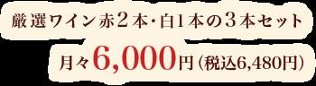厳選ワイン赤2本・白1本の3本セット 月々6,000円(税込6,480円)