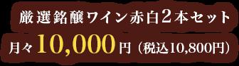 厳選銘醸ワイン赤白2本セット 月々10,000円(税込10,800円)