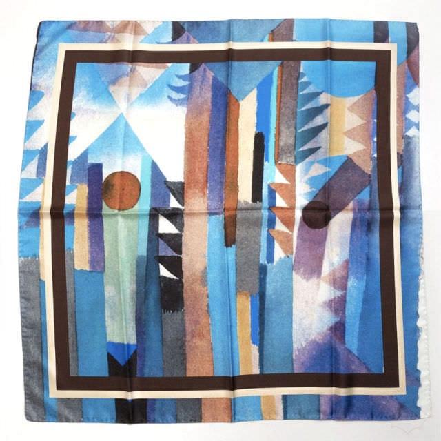 正方形スカーフ ブルー
