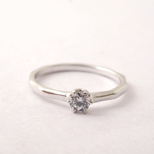mollive WAVE SLENDER ENGAGEMENT RING-PT900