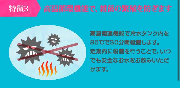 高温循環機能で、雑菌の繁殖を防ぎます