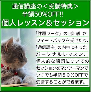 個人レッスン&セッション★受講特典(いつでも50%OFF)
