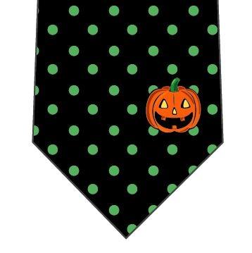 ハロウィンネクタイ(ワンポイントかぼちゃ)緑の写真
