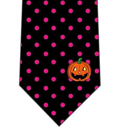 ハロウィンネクタイ(ワンポイントかぼちゃ)ピンクの写真